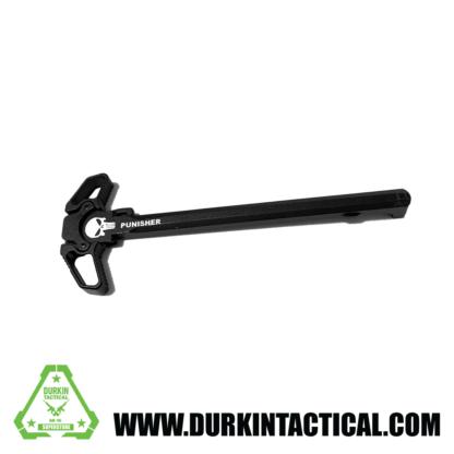 Laser Engraved Ambidextrous Charging Handle | Punisher Skull | Black | C19