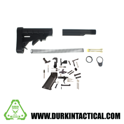 L-E Mil-Spec Stock Buffer Tube Kit With Recoil Pad & Full Lower Parts Kit - Complete AR-15 Lower Setup