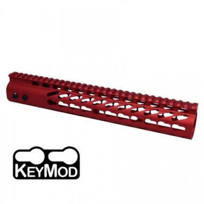 """American Made 12"""" Ultra Lightweight Thin Keymod Free Floating Handguard with Monolithic Top Rail (Red)"""