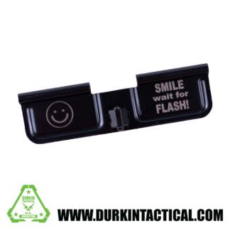 Laser Engraved Ejection Port Dust Cover - Smile Wait For Flash