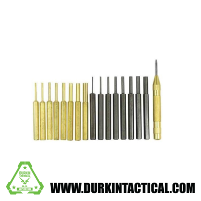 "AR-15 M4 M16 Gun Rifle 18pc Gunsmithing Steel Pin Punch Tool Set Kit 8pc Brass & Steel Punches + Spring Loaded Center Punch 1/16"", 3/32"", 1/8"", 5/32"", 3/16"", 7/32"", 1/4"", 5/16"""