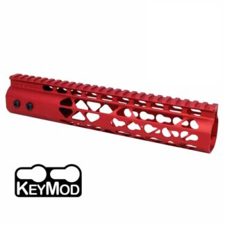10″ AIR LITE KEYMOD FREE FLOATING HANDGUARD WITH MONOLITHIC TOP RAIL (RED)