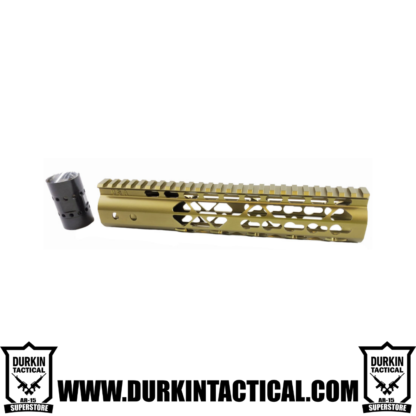 10″ AIR LITE KEYMOD FREE FLOATING HANDGUARD WITH MONOLITHIC TOP RAIL (Gold)