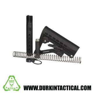 Mil-Spec Skeleton A-Frame Combo Buffer Tube, Spring, Castle Nut, End Plate, Swivel (Black)