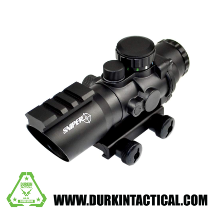 Sniper PM4X32SH 4 x 32 Prisma Glass W/E Illuminated Horseshoe Reticle Integrated with Top Rail, Red/Green
