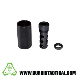"5/8""x24 Muzzle Brake for .308, Muzzle Brake for AR-15 plus Sound Redirect threaded Sleeve, Steel/Aluminum, Black"