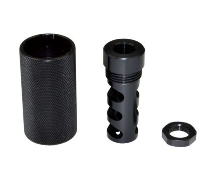 "5:8""x24 Muzzle Brake for .308, Muzzle Brake for AR-15 plus Sound Redirect threaded Sleeve, Steel:Aluminum, Black"