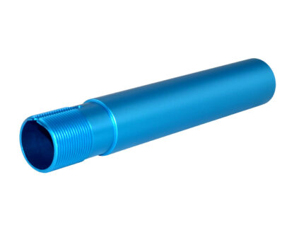 AR-15 Pistol Buffer Tube, 7.3 with hole for QR Sling Adapter, Blue Anodized Angle