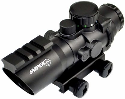 Sniper PM4X32SH 4 x 32 Prisma Glass W:E Illuminated Horseshoe Reticle Integrated with Top Rail, Red:Green