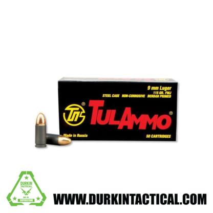 TulAmmo 9mm Pistol Ammunition, 50 Rounds, Steel Case FMJ, 115 Grains