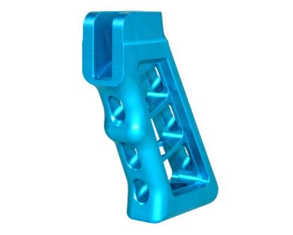 AR Skeletonized Rear Pistol Style Grip, Blue Anodized Aluminum Angle