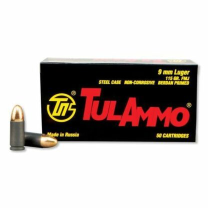 TulAmmo 9mm Pistol Ammunition, 50 Rounds, Steel Case FMJ, 115 Grains