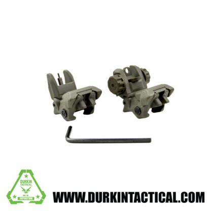 Gen1 OD Green Tactical Polymer Flip up Front/Rear Sight Combo Set