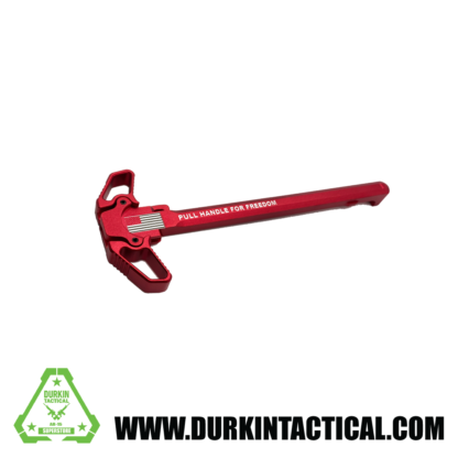 Laser Engraved Ambidextrous Charging Handle   Pull for Freedom   Red   C10R