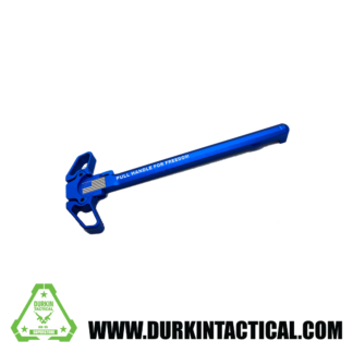 Laser Engraved Ambidextrous Charging Handle | Pull For Freedom | Blue | C10B