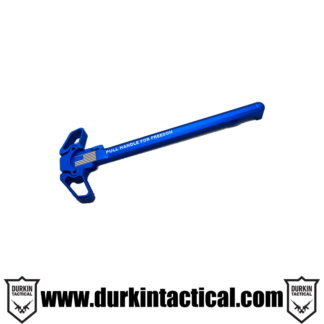 Laser Engraved Ambidextrous Charging Handle   Pull for Freedom   Blue   C10B