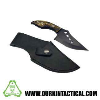 Knife, Sawtooth w/ Sheith, Short/Wide, Black