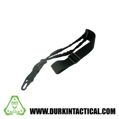 Single Point Adjustable Bungee Sling with Metal HK Hook Adapter - Black
