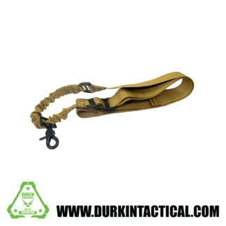 Single Point Adjustable Bungee Sling with Metal QD Hook - FDE