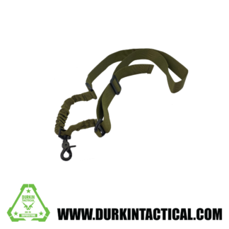 Single Point Adjustable Bungee Sling with Metal QD Snap Hook Adapter- OD Green