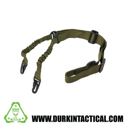2 Point Adjustable Bungee Sling with Metal Snap HK Hook Adapter - OD Green