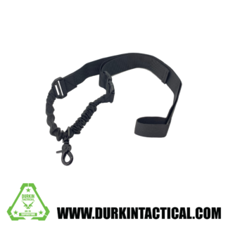 Single Point Adjustable Bungee Sling with Metal QD Snap Hook Adapter - Black