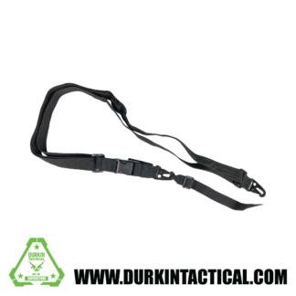 2 Point Adjustable QD Sling with Metal Snap HK Hook Adapter - Black