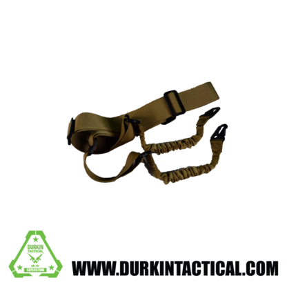 2 Point Adjustable Bungee Sling with Metal Snap HK Hook Adapter - FDE