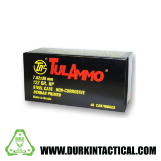 TulAmmo, 7.62X39mm, 122 grain, Full Metal Jacket, 40 Rounds