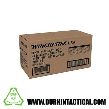 5.56 Winchester Ammo, Centerfire Cartridges, M855 Green Tip, 62 Grain FMJ, 1000 Rounds