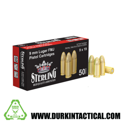 Sterling, 9MM Luger, Brass Cased, 115 Grain, FMJ, 50 round box