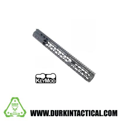 "Guntec AR-15 15"" Ultra Lightweight Thin Keymod Free Floating Handguard with Monolithic Top Rail"