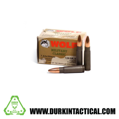 Wolf Military Classic | 7.62x39mm| 124 Gr | Hollow Point | Steel Case | 20 Rounds