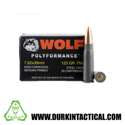 Wolf Polyformance   7.62x39mm  123 Gr   FMJ   Steel Case   20 Rounds