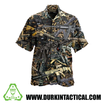 3D Firearms Printed Hawaiian Shirt - XXX-Large