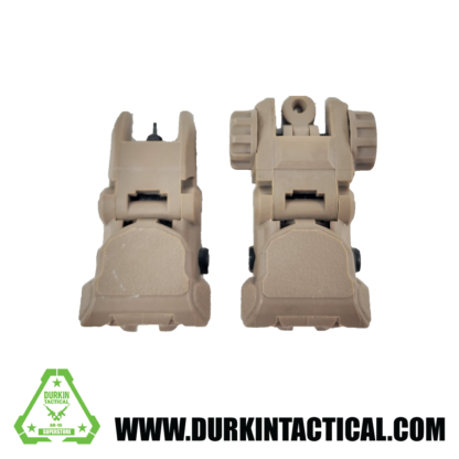 Tan Tactical Polymer Flip Up Front and Back Sights
